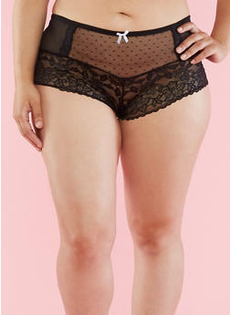 Plus Size Mesh Lace Boyshort Panties - 6166064876760