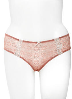 Plus Size Lace Trimmed Mesh Bikini Panties - 6166064877189