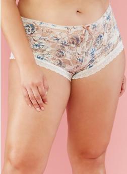 Plus Size Floral Lace Boyshort Panties - 6166064878042