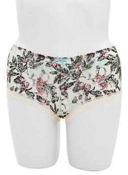 Plus Size Floral Lace Hiphugger Panties - 6166064878203