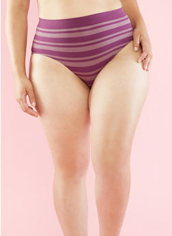 Plus Size Striped Seamless Bikini Panties - PURPLE/DEEP MAUVE - 6166064878632