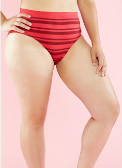 Plus Size Striped Seamless Bikini Panties - WINE/RED - 6166064878632