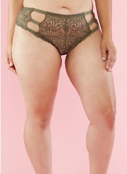 Plus Size Lace Caged Side Boyshort Panties - 6166068060244
