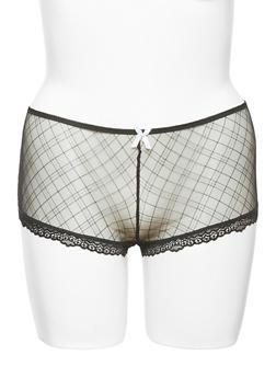 Plus Size Lace Trimmed Mesh Boyshort Panties with Keyhole Back - 6166068060374