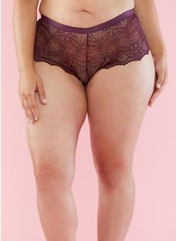 Plus Size Lace Boyshort Panties - 6166068060728
