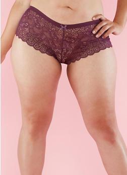 Plus Size Lace Boyshort Panties - 6166068060744