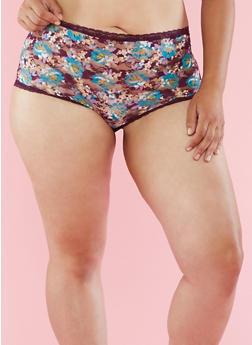 Plus Size Floral Lace Boyshort Panties - 6166068060876