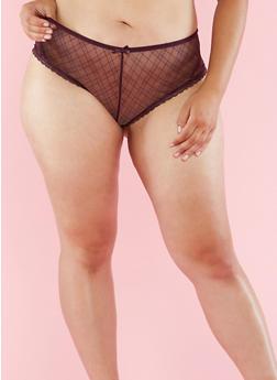 Plus Size Printed Mesh Boyshort Panties - 6166068060890