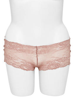 Plus Size Lace Boyshort Panties with Ribbon Lace Up Sides - 6166068061419