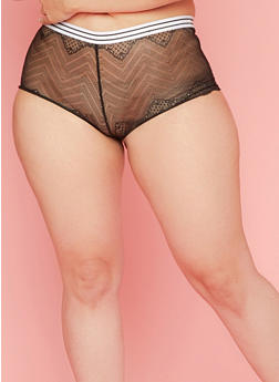Plus Size Lace Boyshort Panties with Striped Waistband - 6166068062978