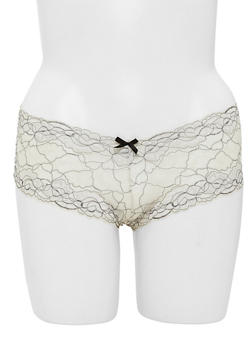 Plus Size Abstract Lace Boyshort Panties with Satin Bow - 6166068063486