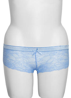 Plus Size Lace Boyshorts with Shadow Stripe Waist - 6166068068245