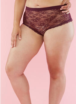 Plus Size Lace Boyshort Panties - 6166068068493