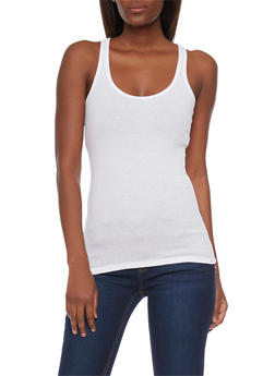 Solid Ribbed Tank Top - WHITE - 6201054266600