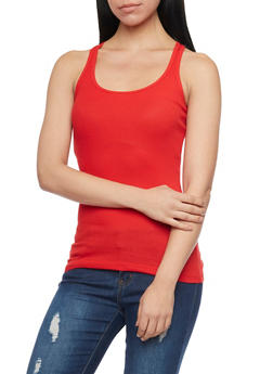 Solid Ribbed Tank Top - POPPY - 6201054266600
