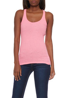 Solid Ribbed Tank Top - NEON PINK - 6201054266600