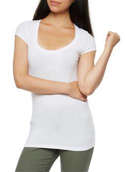 Scoop Neck Short Sleeve T Shirt - WHITE - 6202054260270