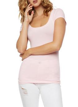 Scoop Neck Short Sleeve T Shirt - 6202054260270