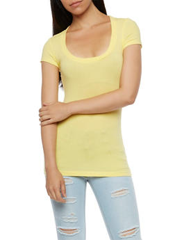 Scoop Neck Short Sleeve T Shirt - 6202054260270