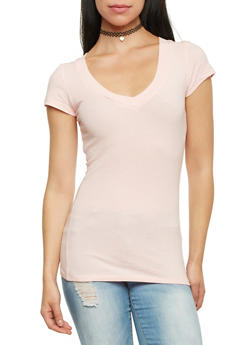 Short Sleeve Top with V Neck - 6202054265000