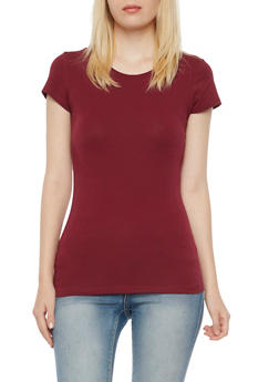 Crew Neck Cap Sleeve Tee - BURGUNDY - 6202054266401