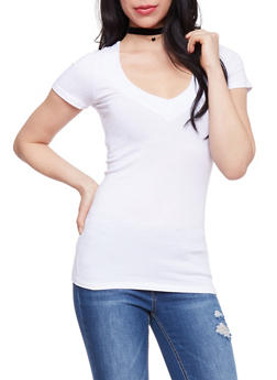 Short Sleeve V Neck T Shirt - WHITE - 6202054266505