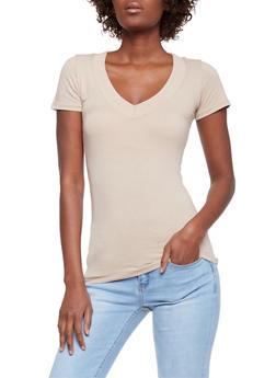 Short Sleeve V Neck T Shirt - 6202054266505