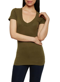 Short Sleeve V Neck T Shirt - 6202054266505