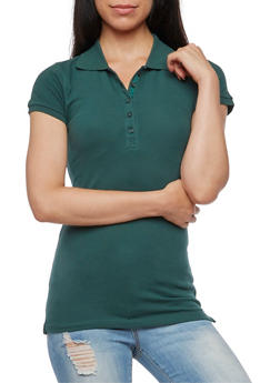 Solid Short Sleeve Polo Shirt - 6203054262537