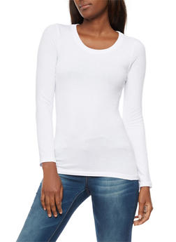 Long Sleeve Scoop Neck Top - WHITE - 6204054262801