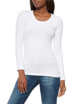 Long Sleeve Scoop Neck Top - WHITE - 6204054262801