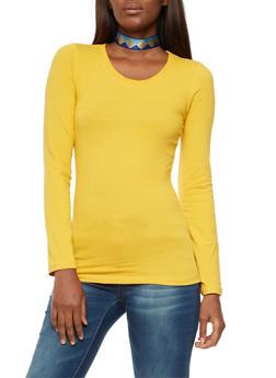 Long Sleeve Scoop Neck Top - GOLD - 6204054262801