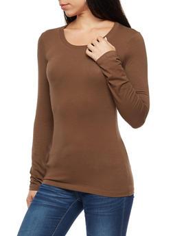 Long Sleeve Scoop Neck Top - 6204054262801