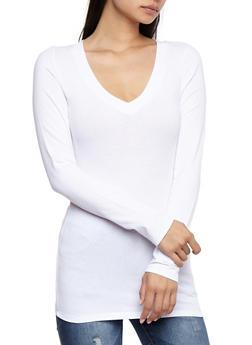 Long Sleeve V Neck Basic Top - WHITE - 6204054262901