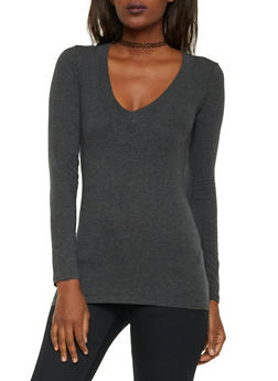 Long Sleeve V Neck Top - 6204054263572