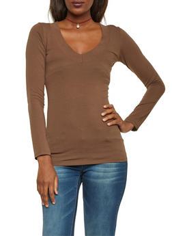 Long Sleeve V Neck Top - 6204054263572