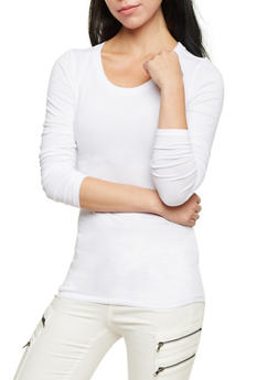 Long Sleeve Top with Scoop Neck - WHITE - 6204054263800