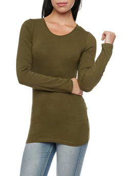 Long Sleeve Top with Scoop Neck - OLIVE - 6204054263800