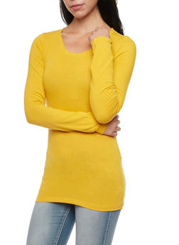Long Sleeve Top with Scoop Neck - GOLD - 6204054263800