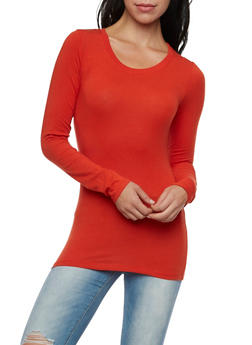 Long Sleeve Top with Scoop Neck - 6204054263800