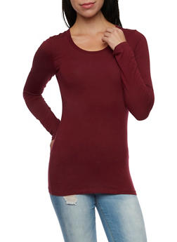 Long Sleeve Top with Scoop Neck - BURGUNDY - 6204054263800