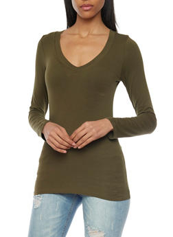 Long Sleeve Top with V Neck - 6204054263900