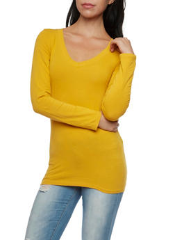 Long Sleeve Top with V Neck - GOLD - 6204054263900