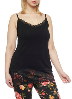 Plus Size Lace Trim Camisole - 6241054260029