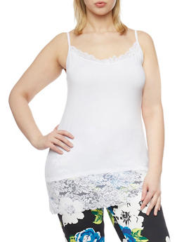 Plus Size Lace Trim Camisole - WHITE - 6241054260029