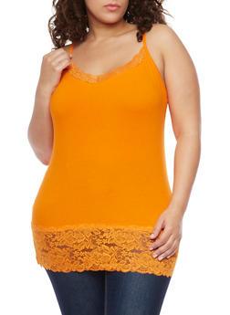 Plus Size Lace Trim Camisole - 6241054260029