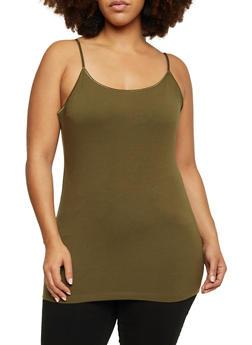Plus Size Basic Tank Top with Adjustable Shoulder Straps - OLIVE - 6241054260666