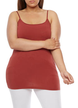 Plus Size Basic Tank Top with Adjustable Shoulder Straps - 6241054260666