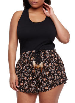 Plus Size Racerback Tank Top with Ruched Sides - 6241054263086