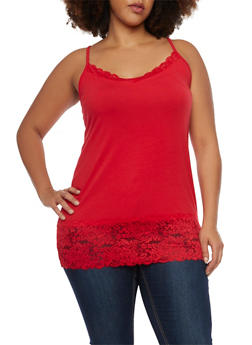 Plus Size Tank Top with Lace Trim - 6241054268329